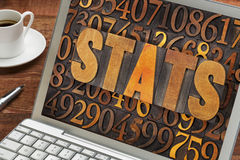 Stats  word on a lptop computer Stock Image