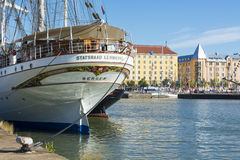 Statsraad Lehmkuhl moored in Helsinki Stock Image