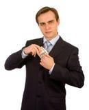 Stattlicher junger Geschäftsmann. Getrennt auf Weiß. Lizenzfreie Stockfotos