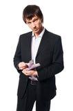 Stattlicher junger Mann auf weißem Hintergrund Stockfotos