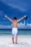 Stattlicher Mann bei Maldives Stockbild