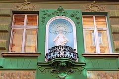 Statua święty Mary na budynku, Lviv, Ukraina Zdjęcia Royalty Free