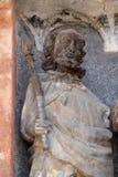 Statua święty na południowym portalu kościół St Mark w Zagreb zdjęcia royalty free
