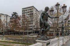 Statua al ponte delle civilizzazioni, Repubblica Macedone Immagini Stock