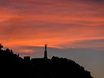 Statua al tramonto, Budapest di libertà Immagine Stock