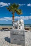 Statua alata del leone a Larnaca nel Cipro Fotografia Stock
