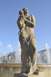 Statua alla plaza Catalunya Immagini Stock Libere da Diritti