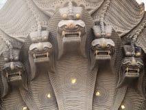 Statua antica del drago delle teste Fotografia Stock