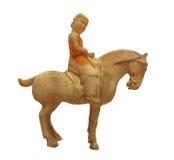 Statua antica della donna sul cavallo isolato fotografia stock libera da diritti