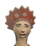 Statua antica della testa dell'Azteco isolata. immagini stock libere da diritti