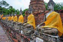 Statua antica di Buddha a Ayutthaya, Tailandia Fotografie Stock