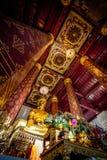 Statua antica di Buddha negli impiegati di Wat Nah Phramen Chapel Buddhist Fotografie Stock Libere da Diritti