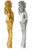 Statua antica greca delle cariatidi su fondo bianco Immagine Stock Libera da Diritti