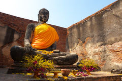 Statua in Ayuddhaya Tailandia Fotografia Stock
