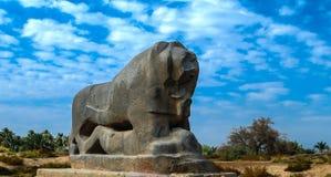 Statua Babiloński lew w Babylon rujnuje Irak fotografia royalty free