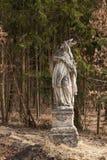 Statua barrocco del san nella foresta vicino alla città di Trebic in repubblica Ceca Fotografia Stock Libera da Diritti