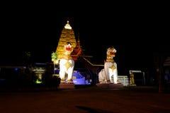 Statua bianca del leone del Asean a Chedi Buddhakhaya Immagini Stock