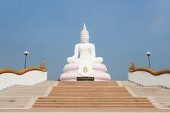 Statua bianca di Buddha Fotografie Stock