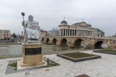 Statua Bizantyjski cesarz Justinian I w mieście Skopje, republika Ma Obrazy Royalty Free