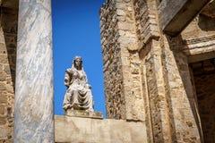 Statua bogini Ceres przy Roma?skim Theatre w Merida, Hiszpania obraz stock