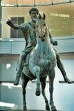 Statua bronzea del cavallo di Roman Emperor Marcus Aurelius Immagini Stock Libere da Diritti