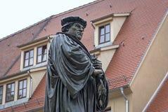Statua bronzea di Martin Luther in Eisleben Fotografie Stock