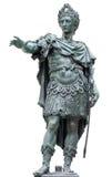 Statua bronzea di un imperatore romano isolato su bianco Immagini Stock Libere da Diritti