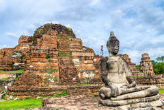 Statua Buddha w Wacie Mahathat, Ayuthaya, Tajlandia. Obrazy Stock