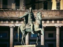 Statua Charles III Hiszpania, Naples, Włochy Zdjęcie Stock