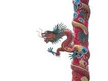 Statua cinese del drago sul palo isolato con il percorso di ritaglio Fotografie Stock Libere da Diritti