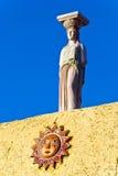 Statua contro cielo blu Fotografie Stock