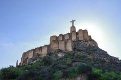Statua Cristo Castillo de Monteagudo, castello medievale, Murcia, S Immagine Stock Libera da Diritti