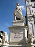 Statua Dante Alighieri. Statue of Dante Alighieri in Santa Croce's square near the great basilica (Florence Stock Photo