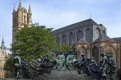 Statua dei fratelli del eyck del furgone Immagini Stock Libere da Diritti