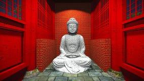 Statua del Buddha in tempiale Immagini Stock Libere da Diritti