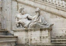 Statua del dio del fiume del Tevere Fotografie Stock