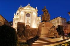 Statua del Don Bosco al crepuscolo Fotografia Stock
