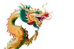Statua del drago (isolata) in Tailandia e area in bianco alla destra Fotografia Stock Libera da Diritti