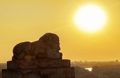 Statua del leone con paesaggio al fondo di alba Fotografia Stock Libera da Diritti