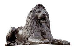 Statua del leone isolata Fotografia Stock