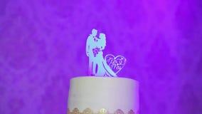 Statua del metallo del primo piano piccola dello sposo con la sposa in vestito da sposa con i supporti leggeri di riflessione sop video d archivio