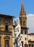Statua del primo piano di Nettuno a Firenze, Italia Fotografie Stock Libere da Diritti