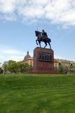 Statua del re Tomislav nella sosta della città a Zagabria Fotografie Stock Libere da Diritti