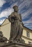 Statua del salvatore santo con Cosmas e di Damian a Charles Brid Fotografie Stock