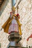 Statua del ` Ubaldo sopra il cero, Gubbio di Sant Immagine Stock Libera da Diritti