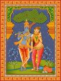 Statua dell'indiano Dio Radha e Krishna con il fondo floreale d'annata della struttura fotografie stock