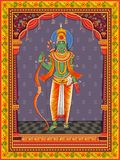 Statua dell'indiano Lord Rama con il fondo floreale d'annata della struttura immagine stock