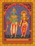 Statua dell'indiano Lord Rama Sita con il fondo floreale d'annata della struttura fotografie stock