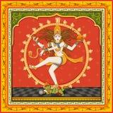 Statua dell'indiano Lord Shiva Nataraja con il fondo floreale d'annata della struttura fotografie stock