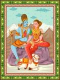 Statua dell'indiano Lord Shiva Parvati con il fondo floreale d'annata della struttura immagine stock libera da diritti